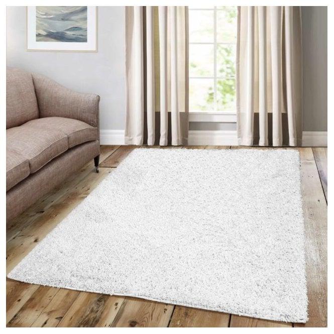 Large Sunshine White Shaggy Rug 170x120cm (70071-060-120170)