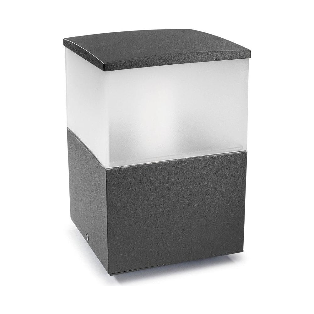 Alex Pedestal Light: LEDS C4 Cubik 9386 Urban Grey Outdoor Pedestal Light