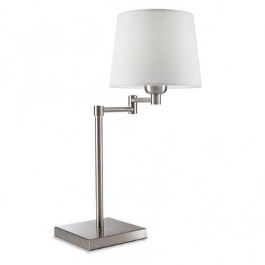 LEDS C4 Decorative Dover Satin Nickel Table Lamp With White Shade (174-NS)