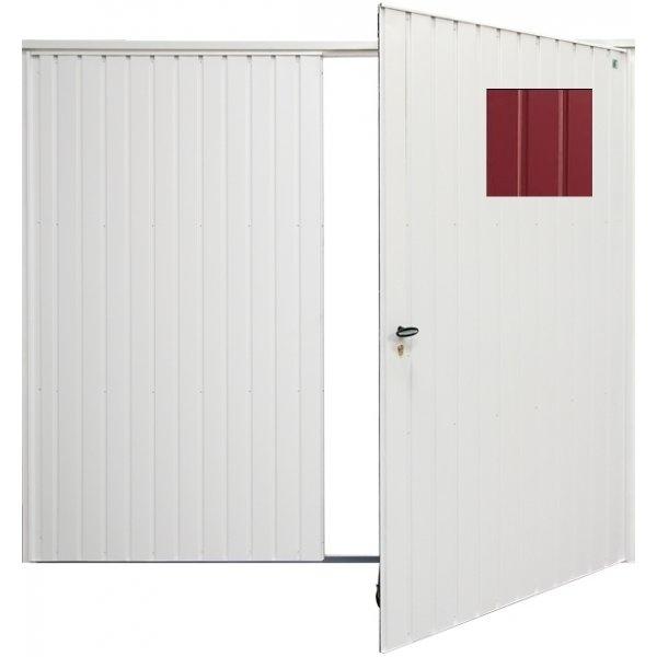 Vertical panelled side hinged garage door cherry red for Garage door finishes
