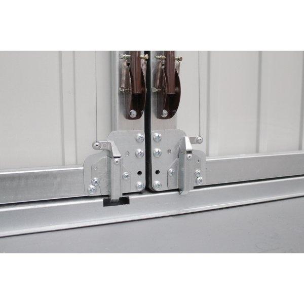 Vertical panelled side hinged garage door white finish for Garage door finishes