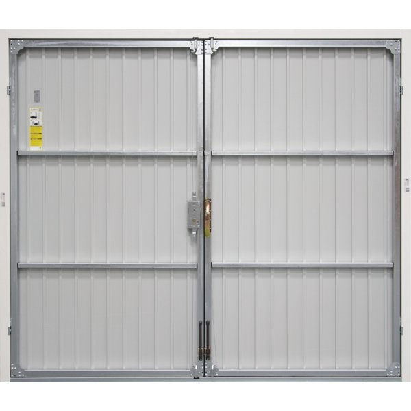 Vertical Panelled Side Hinged Garage Door White Finish