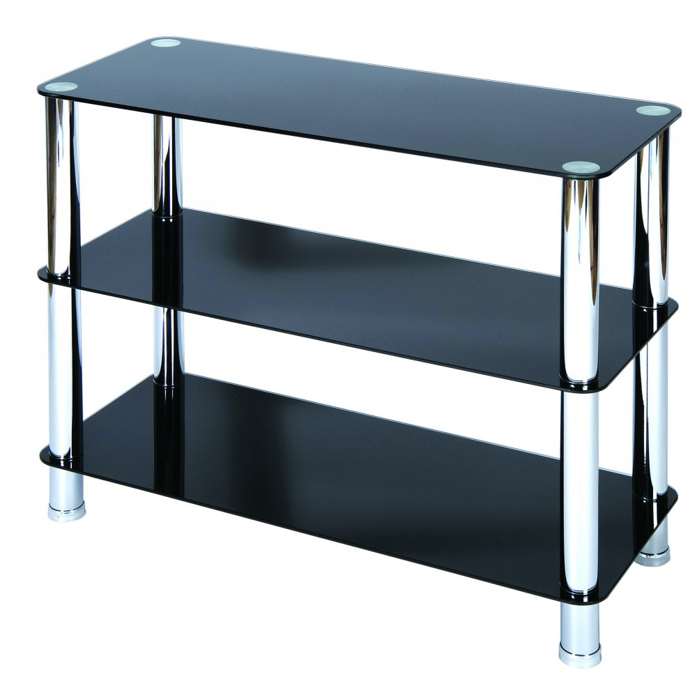 LEVV Milano 3 Tier Black Glass Shelving Unit With Chrome Legs