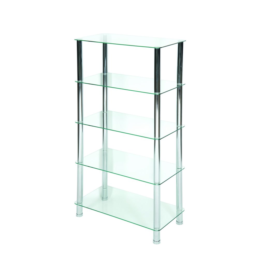 LEVV Milano 5 Tier Clear Glass Shelving Unit With Chrome Legs