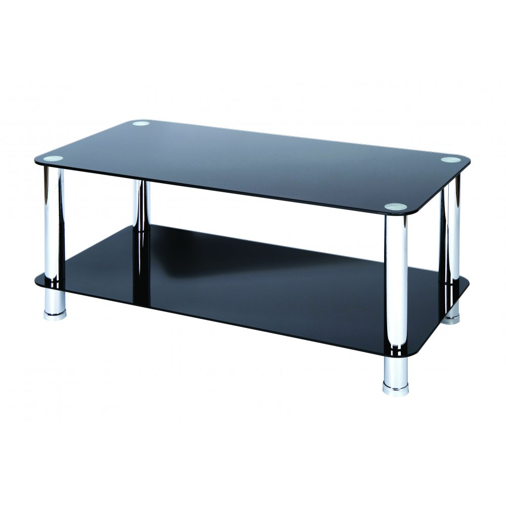 Levv milano black glass coffee table with chrome legs images frompo Black and chrome coffee table