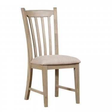 Lily Cashew Cream Painted Slatted Back Pair of Dining Chairs with Linen Seat Pad
