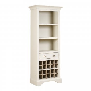Lily Cashew Cream Painted Tall Wine Rack Bookcase