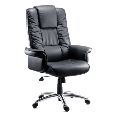 Lombard Black Executive Armchair with Aluminium Base