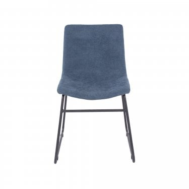 Louis Set Of 2 Dining Chairs, Blue & Black Metal