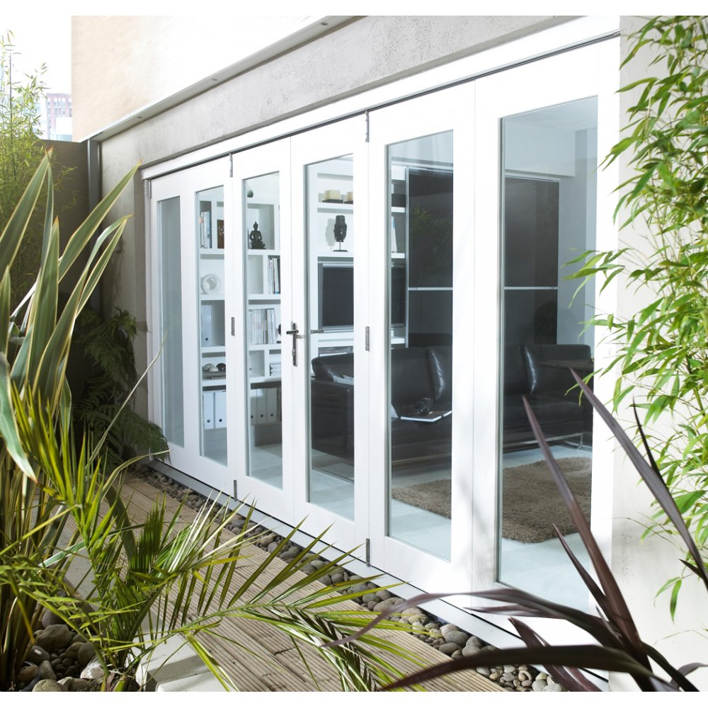 Leader stores nuvu factory finished white folding for White sliding patio doors