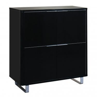 LPD Furniture Accent Black High Gloss 4 Drawer Storage Unit