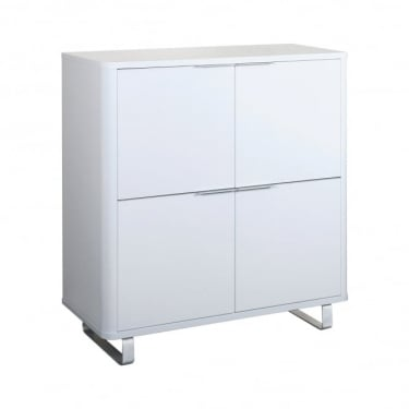 LPD Furniture Accent White High Gloss 4 Drawer Storage Unit
