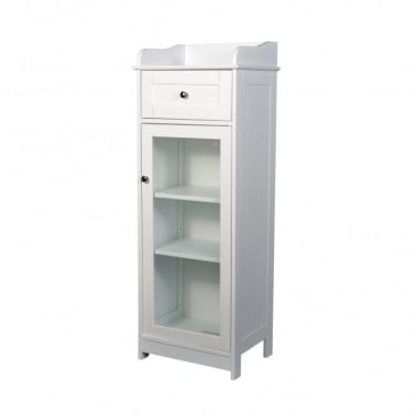 LPD Furniture Alaska White 1 Drawer 1 Door Storage Unit (ALASKAGLASS)