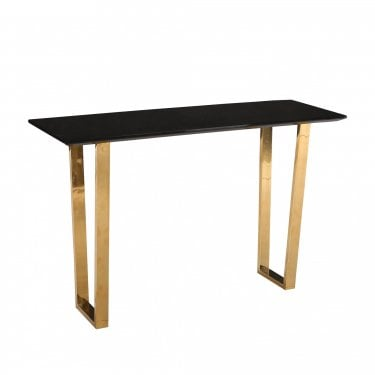LPD Furniture Antibes High Gloss Black Console Table with Polished Gold Legs (ANTCONS)