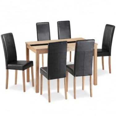 LPD Furniture Ashford Ash & Black Dining Set