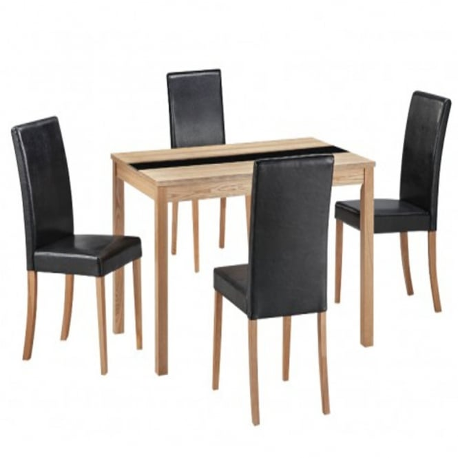 Lpd furniture ashleigh ash black medium dining set for Ashleigh dining set