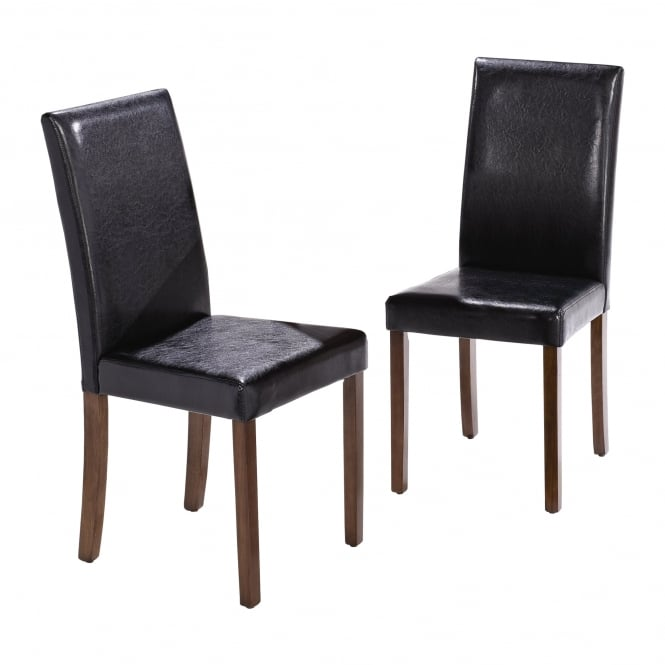 LPD Furniture Ashleigh Walnut & Black Dining Chair (Pair)