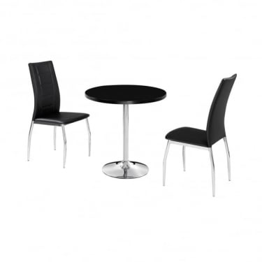 LPD Furniture Athena Black High Gloss Dining Set