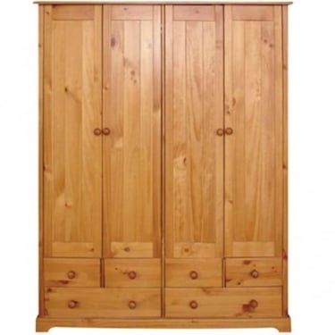 LPD Furniture Baltic Antique Pine 4 Door Wardrobe