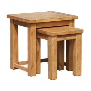LPD Furniture Boden Rough Sawn Rough Sawn Pine Nest of Tables Pair (BODENNEST)