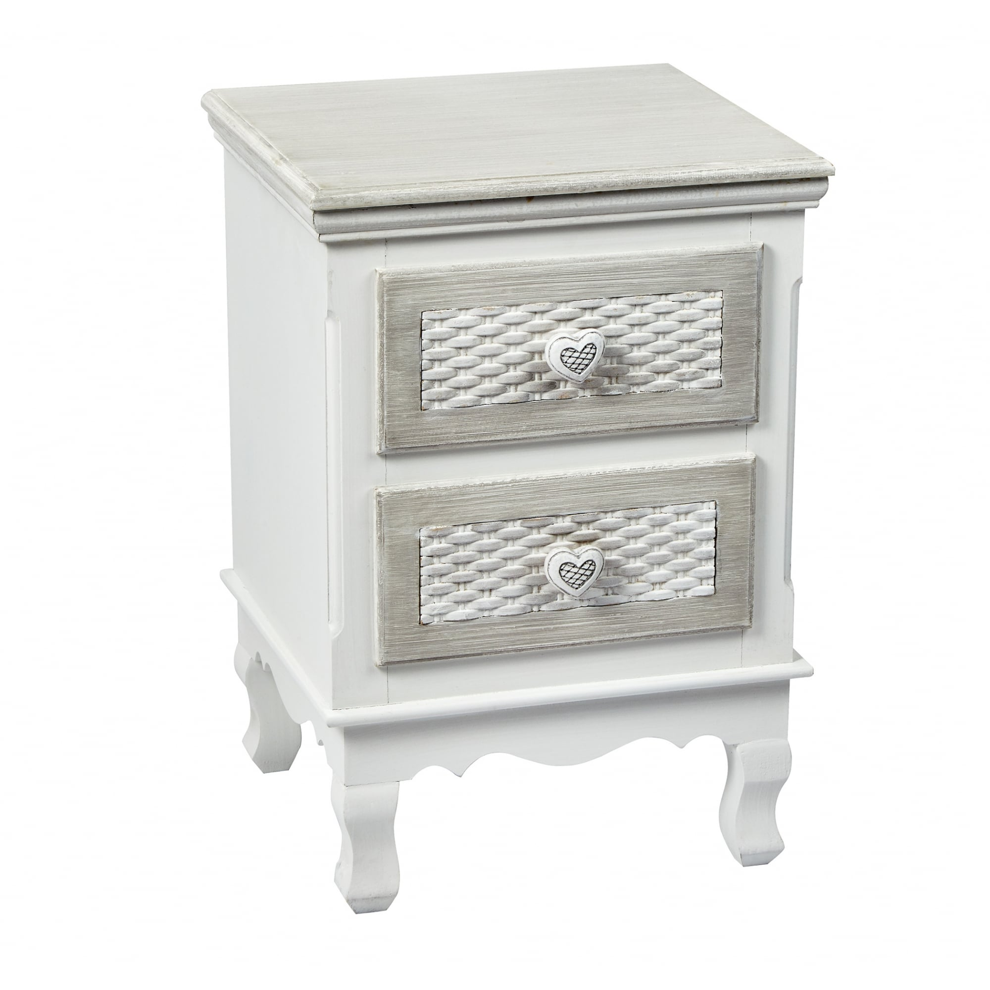 LPD Furniture Brittany Hand Painted Shabby Chic 2 Drawer Bedside