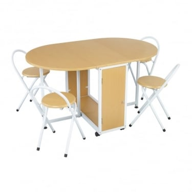 LPD Furniture Butterfly Beech/White Fold Away Dining Set