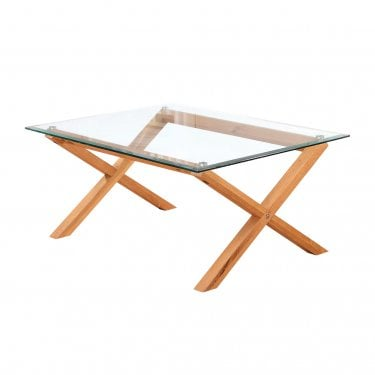 LPD Furniture Cadiz Clear Glass Coffee Table with Solid Oak Legs (CADIZCOF)