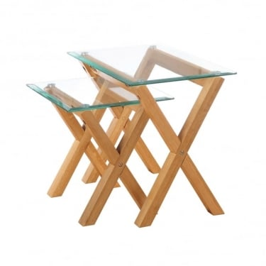 LPD Furniture Cadiz Clear Glass Nest of Tables Pair with Solid Oak Legs (CADIZNEST)