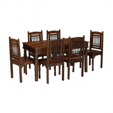LPD Furniture Darjeeling Sheesham Large Dining Set