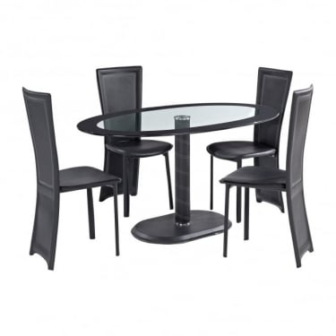 LPD Furniture Lenora Black Oval Dining Set