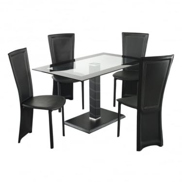 LPD Furniture Lenora Black Rectangular Dining Set