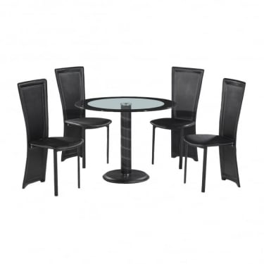 LPD Furniture Lenora Black Round Dining Set