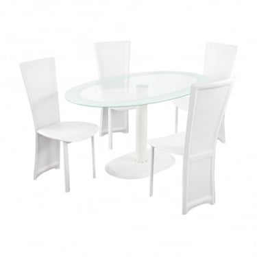 LPD Furniture Lenora White Oval Dining Set