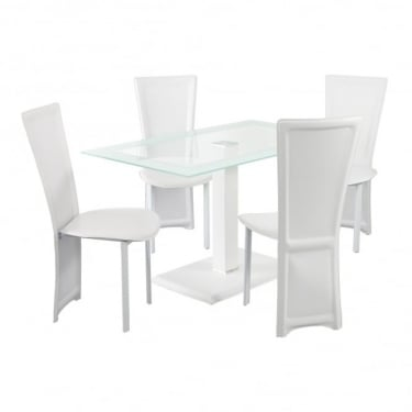 LPD Furniture Lenora White Rectangular Dining Set