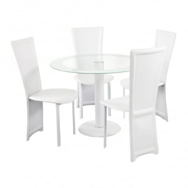LPD Furniture Lenora White Round Dining Set