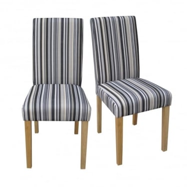 LPD Furniture Lorenzo Striped Dining Chair (Pair)