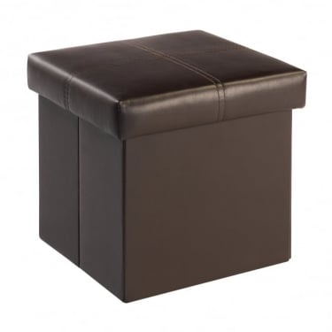 LPD Furniture Madrid Brown Faux Leather Small Storage Stool