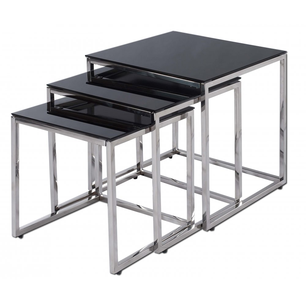 nest of tables glass and chrome furnitures online usa black and chrome furniture