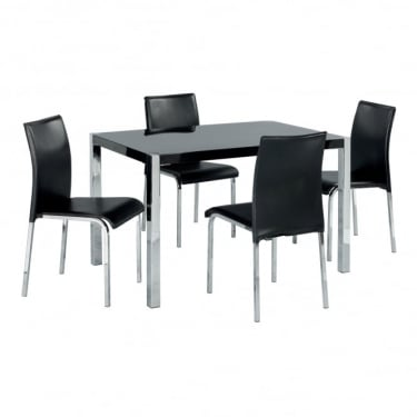 LPD Furniture Novello Black High Gloss Dining Set