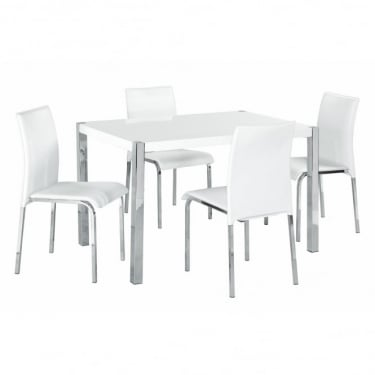 LPD Furniture Novello White High Gloss Dining Set