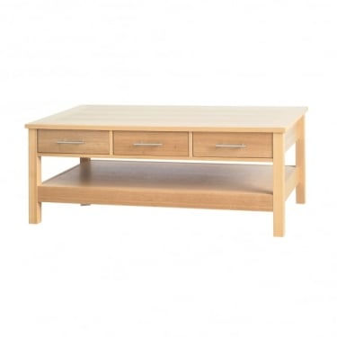 LPD Furniture Oakridge Oak 3 Drawer Coffee Table (OAKCOFDR)