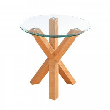 LPD Furniture Oporto Oak & Glass End/Lamp Table