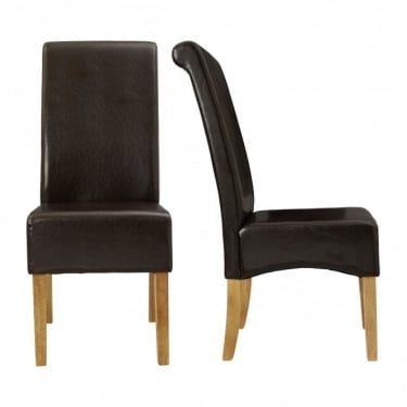 LPD Furniture Padstow Brown Dining Chair (Pair)