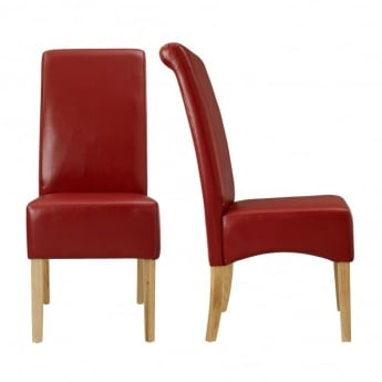 LPD Furniture Padstow Red Dining Chair (Pair)