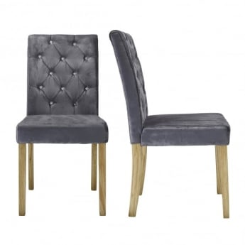 LPD Furniture Paris Silver Velvet Dining Chair (Pair)