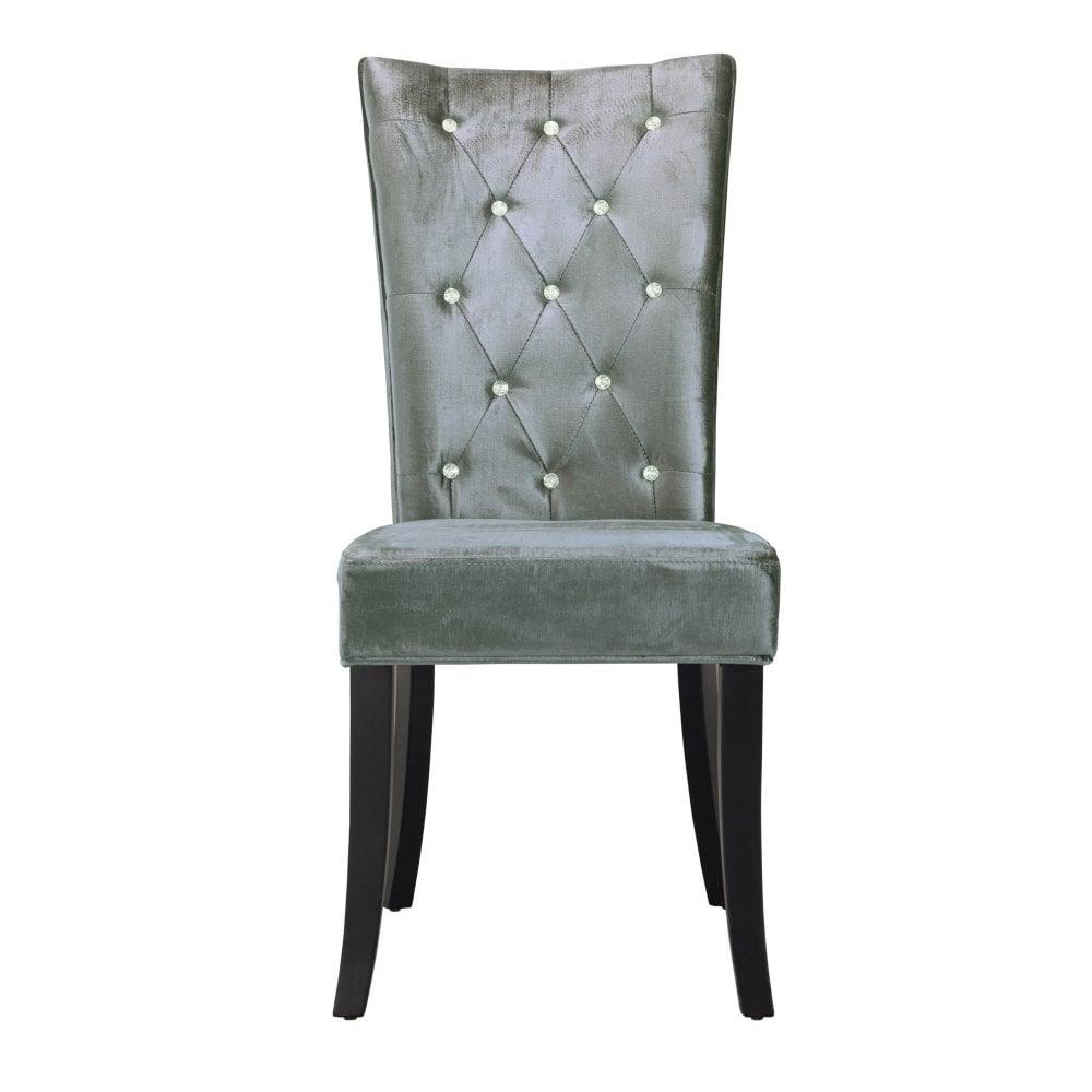 LPD Furniture Radiance Silver Velvet Dining Chair Pair Leader