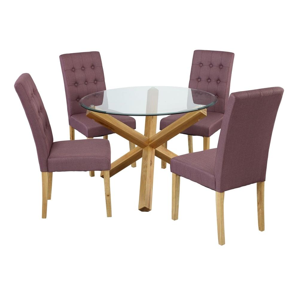 Lpd Furniture Roma Plum Linen Dining Chair Pair Leader