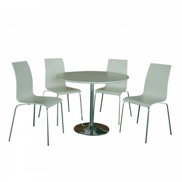 LPD Furniture Soho Matt White Dining Set