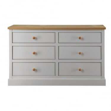 LPD Furniture St. Ives Dove Grey 6 Drawer Chest (STIVEWIDE)
