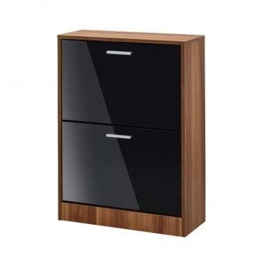 LPD Furniture Strand High Gloss Black 2 Drawer Shoe Cabinet (STRA2DRBLA)